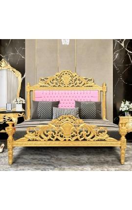 Lit Baroque tissu simili cuir rose et bois doré