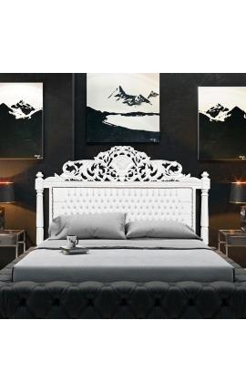 Tête de lit Baroque en simili cuir blanc avec strass et bois laqué blanc