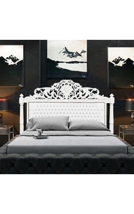 Baroque fabric headboard false leather with white rhinestones and white lacquered wood