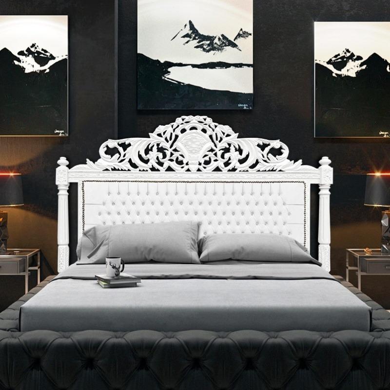 tête de lit baroque simili cuir blanc avec strass et bois