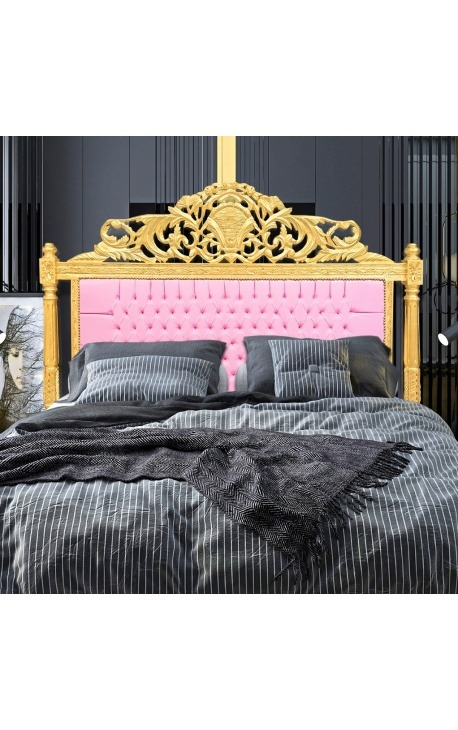 Baroque bed headboard pink leatherette and gold wood
