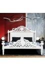 Lit Baroque tissu simili cuir blanc avec cristaux et bois laqué blanc