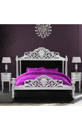 Lit Baroque tissu velours noir et bois argenté