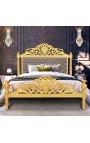 Lit Baroque tissu velours taupe et bois doré