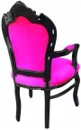 Armchair Baroque Rococo style fuchsia fabric and black wood