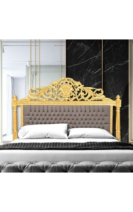 Baroque bed headboard taupe velvet fabric and gold wood