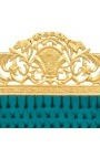 Baroque bed headboard emerald green velvet fabric and gold wood