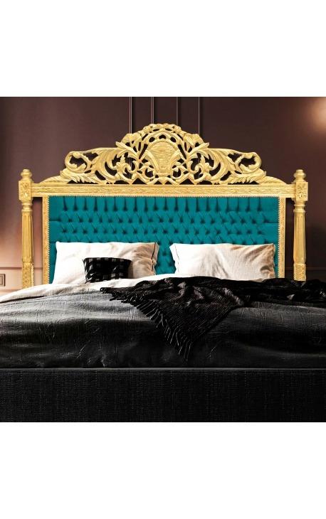 Tête de lit Baroque en velours vert et bois doré