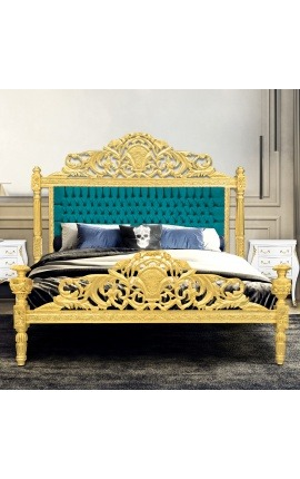Baroque bed emerald green velvet fabric and gold wood