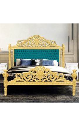 Lit Baroque tissu velours vert émeraude et bois doré à la feuille
