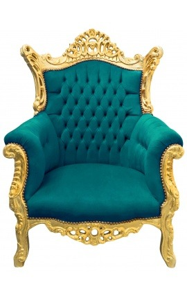 Grand fauteuil Baroque rococo velours vert et bois doré
