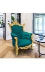 Grand Rococo Baroque armchair burgundy velvet and gilded wood