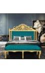 Banquette plate de style Louis XV tissu velours vert émeraude et bois doré