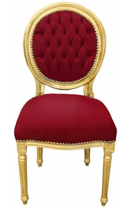 Louis XVI style chair burgundy velvet and gold wood