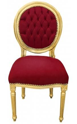 Chaise de style Louis XVI velours bordeaux et bois doré
