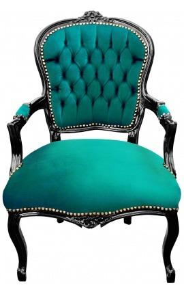 Барокко кресло Louis XV стиль зеленого бархата и черного глянцевого дерева