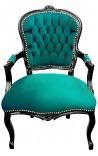 Baroque armchair of Louis XV style green velvet and glossy black wood
