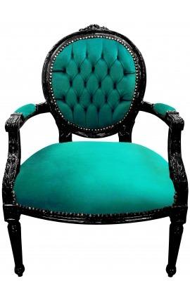 Fauteuil Louis XVI de style baroque velours vert et bois noir