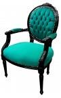 Baroque armchair Louis XVI style medallion green velvet and glossy black wood