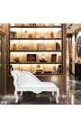Louis XV chaise longue white leatherette and white wood