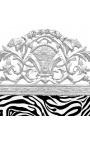 Tête de lit Baroque en velours zèbre et bois argenté