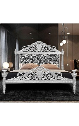 Baroque bed headboard zebra printed fabric and silver wood