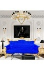 Canapé baroque rococo 3 places velours bleu et bois doré