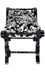 Dagobert bench with white floral pattern fabric and black wood