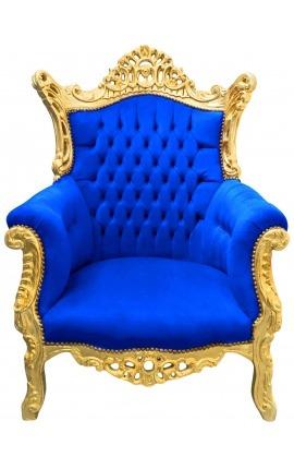 Гранд рококо барочное кресло синего бархата и позолоченного дерева