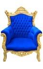 Grand fauteuil Baroque rococo velours bleu et bois doré