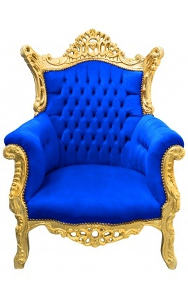 Grand Rococo Baroque armchair blue velvet and gilded wood
