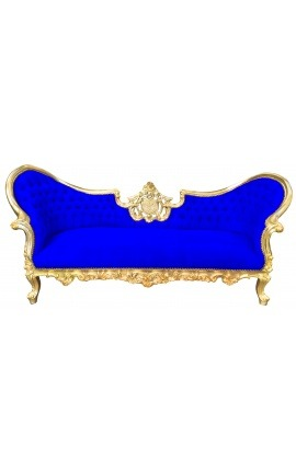 Baroque Napoleon III sofa blue velvet fabric and gold wood