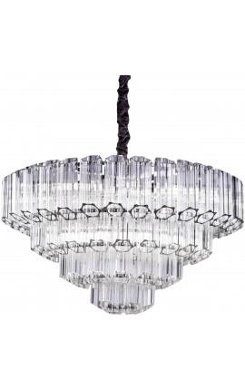 """Grand lustre """"Lesavi"""" en métal argenté avec pampilles en verre hexagonales"""