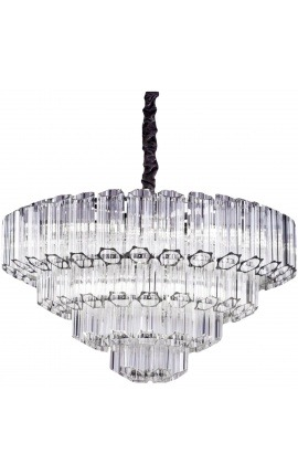 "Large chandelier ""Lesavi"" in silver metal with hexagonal glass pendants"