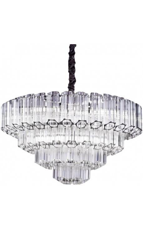 """Большая люстра """"Lesavi"""" из серебристого металла со стеклянными подвесками"""