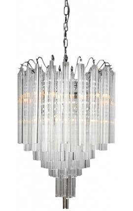 """Lustre """"Livera"""" style Art Deco en métal et pampilles en verre"""