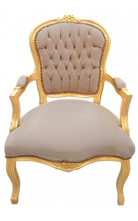 Baroque armchair of Louis XV style taupe velvet and gold wood