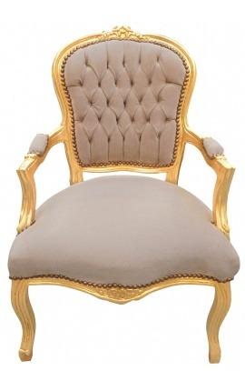 Fauteuil Louis XV de style baroque velours taupe et bois doré