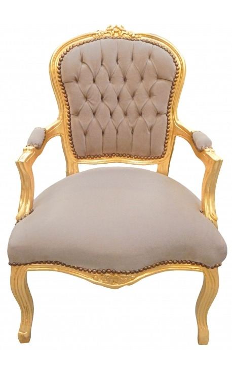 Baroque armchair of Louis XV style brown false skin leather and gold wood