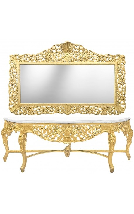 Very big console with mirror in gilded wood Baroque and white marble