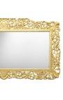 Enorme console avec miroir de style baroque en bois doré et marbre blanc