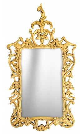 Grand miroir baroque rococo en bois doré