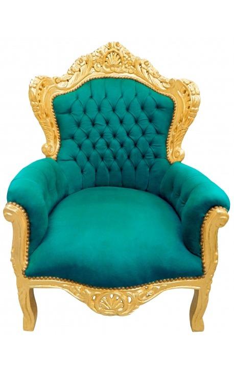 Grand fauteuil de style baroque tissu velours vert et bois doré