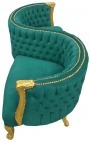 Baroque conversation seat green velvet fabric and gilded wood