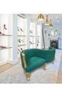 Fauteuil confident baroque tissu velours vert et bois doré