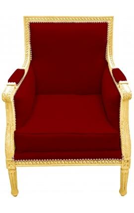 Grande bergère de style Louis XVI velours Bordeaux et bois doré