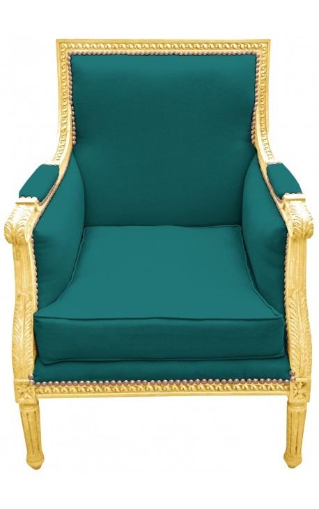 Grande bergère de style Louis XVI velours vert et bois doré