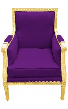 Large Bergère armchair Louis XVI style purple velvet and gilded wood