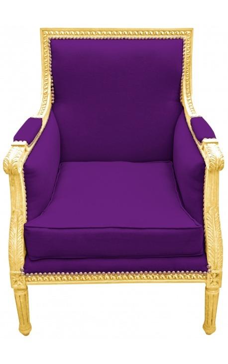 Large Bergère armchair Louis XVI style purple velvet and gilded wood