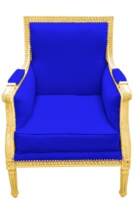 Large Bergère armchair Louis XVI style blue velvet and gilded wood